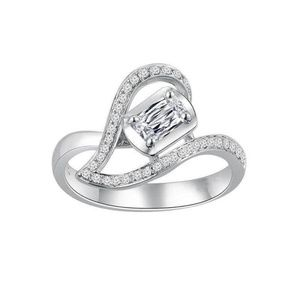 925 Silver Heart Shaped White Sapphire Ring New